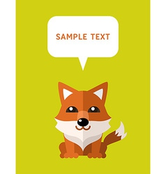 Cute Fox In Flat Design Style With Speach Bubble vector