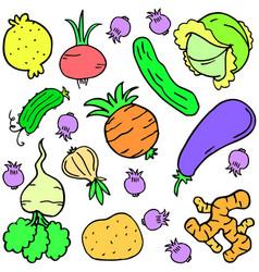 Doodle fresh vegetable art vector