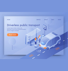 Driverless public transport banner unmanned bus vector