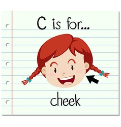Flashcard letter C is for cheek vector