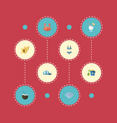 flat icons cocos shovel conch and other vector image