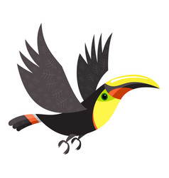 flying toucan icon cartoon style vector image
