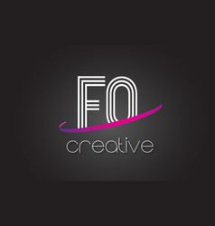 fq f q letter logo with lines design and purple vector image