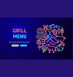 grill menu neon banner design vector image