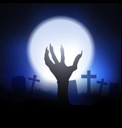 Halloween background with zombie hand vector