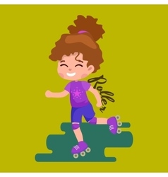 Happy girl fun rollers children sport kids vector