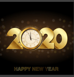 happy new year card with gold clock 2020 vector image