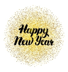 Happy New Year Lettering with Gold vector image