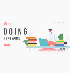 Homework landing page template female character vector