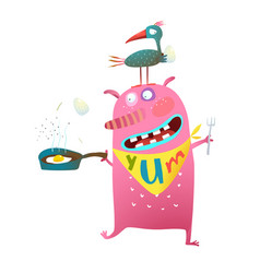 Hungry monster cooking egg and a bird vector