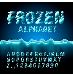 Ice font collection vector image