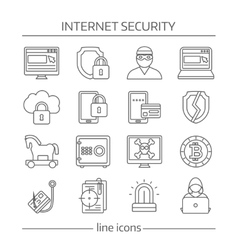 Internet Security Linear Icon Set vector image