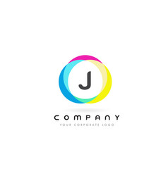 j letter logo design with rainbow rounded colors vector image