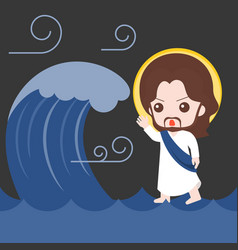 jesus walking on sea and calm down storm vector image