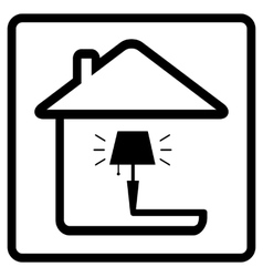 lamp on home icon from the set line style vector image