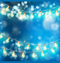 Light garlands blue bokeh background eps 10 vector