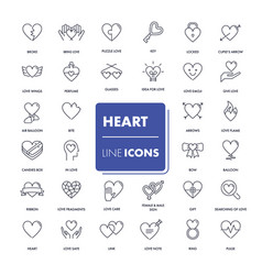 line icons set heart vector image