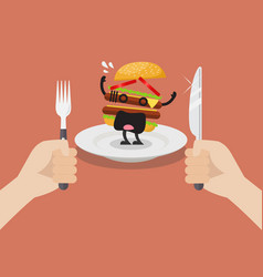 Man prepare to eat scared burger vector