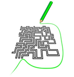 maze and a pencil vector image