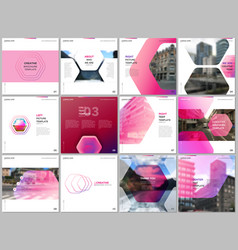 minimal brochure templates with hexagonal design vector image