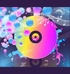 Multicolored vinyl record on dark background vector