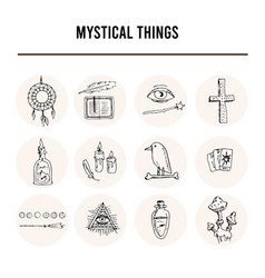 mystical things isolated hand drawn doodles vector image