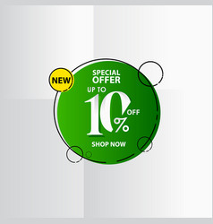 New discount label up to 10 special offer shop vector