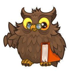old wise fluffy owl in glasses and with a book vector image