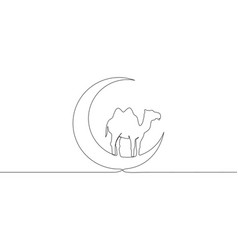 One continuous line drawing camel animal vector