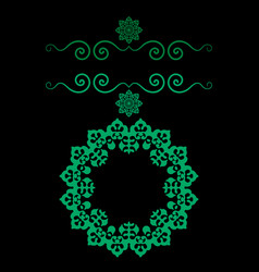 Ornamental frame in green color with bended vector