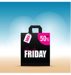 Paper bag with black friday icon on it vector