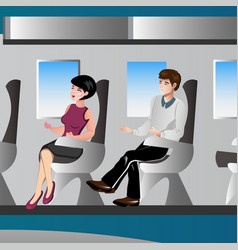 Passengers in airplane vector
