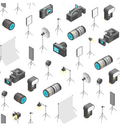 photo studio equipment signs 3d seamless pattern vector image