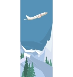 plane on winter background vector image