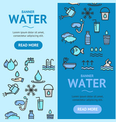 pool and water signs banner vertical set vector image