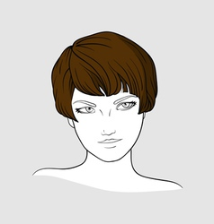 Portrait of brown haired girl vector