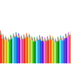 Rainbow seamless row of color drawing pencils vector