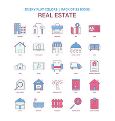 real estate icon dusky flat color - vintage 25 vector image