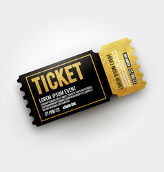 realistic black and gold vip ticket template vector image