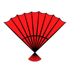 Red open hand fan icon cartoon vector
