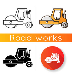 Road roller icon compactor type vehicle vector