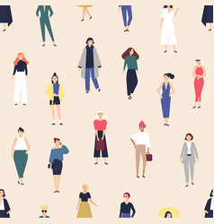 seamless pattern with elegant young women dressed vector image