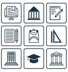 Set 9 education icons includes academy paper vector