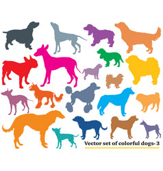 Set colorful dogs silhouettes-3 vector