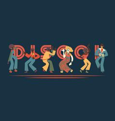 set disco dancing people vector image