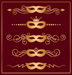 Set of decorative gold masks vector