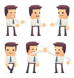 Set of manager character in different poses vector