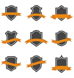 Set of shield icons with ribbons vector image