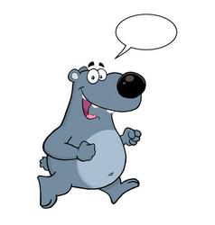 smiling gray bear cartoon character vector image
