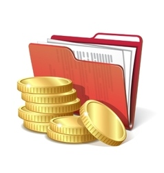Stack of gold coins next to folder with documents vector image